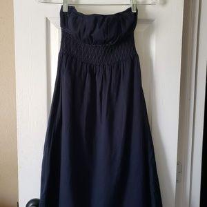 J. Crew Navy Smocked Cabana Strapless Dress